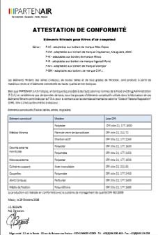 Certificats de conformité pour éléments filtrants